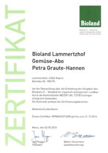 Bioland Zertifikat Lammertzhof Gemüse-Abo 2015