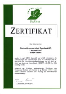 Ökokiste Zertifikat Lammertzhof Gemüse-Abo 2015