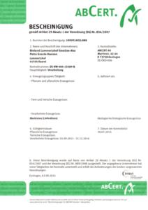 ABCert Zertifikat Lammertzhof Gemüse-Abo 2015