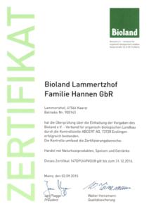 Bioland Zertifikat Lammertzhof Hofmarkt 2015