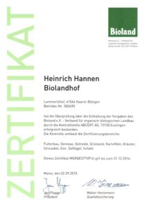 Bioland Zertifikat Lammertzhof 2015