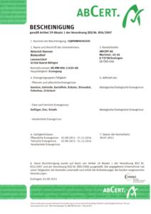 ABCert Zertifikat Lammertzhof 2014