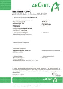 ABCert Zertifikat Lammertzhof Hofmarkt 2014