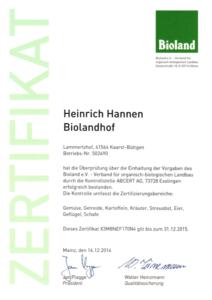 Bioland Zertifikat Lammertzhof 2014