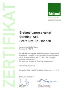 Bioland Zertifikat Lammertzhof Gemüse-Abo 2014